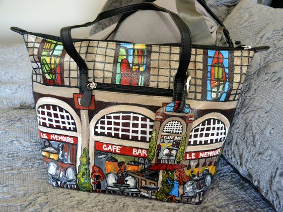 Hand Painted Leather Tote Bag  Paris Cafe Hand Painted Purse