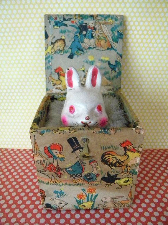 Vintage Bunny Jack in the Box Toy Paper Mache by SongbirdSalvation