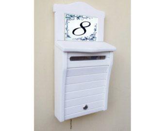 Cuadro de buzón, buzón de madera hecho a mano, carta, Color blanco con textura visible '' XL''