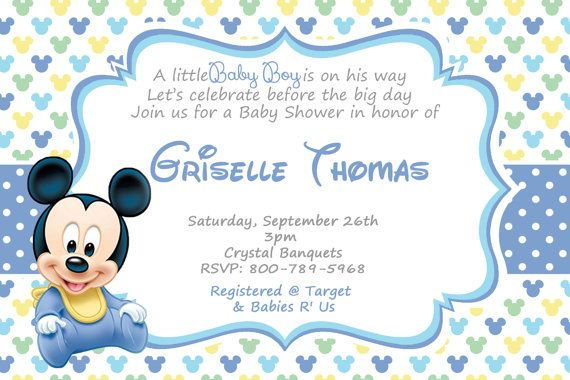 Cute Baby Mickey Mouse Baby Shower Invitations Baby by Andabloshop
