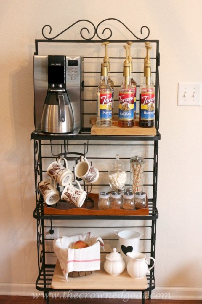 Indoor coffee station coffee bar and bakers rack for Coffee bar ideas for office