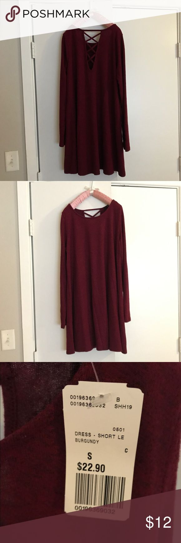 Burgundy sweater dress 💕 NWT The back laces up 💕 NWT 💕 Burgundy Forever 21 Dresses Long Sleeve