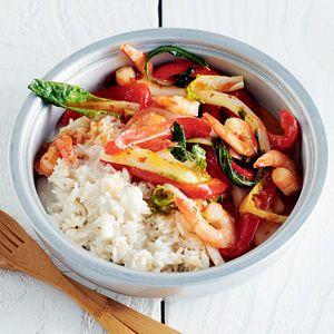 ** - weinig smaak, volgende keer extra kruiden en misschien extra groentjes bij doen / Recept - Kokosrijst met chiligarnalen - Allerhande