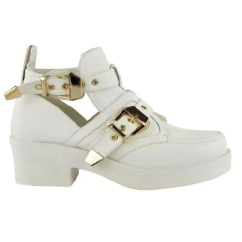 NEW IN :: Love White Buckle Cut Out Shoe Boots