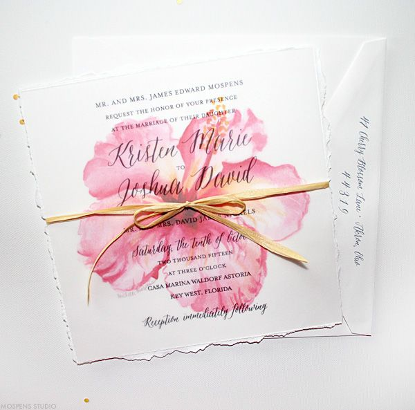 Beach Wedding Invitations | Tropical Watercolor Hibiscus | Mospens Studio only with calla lilies :)