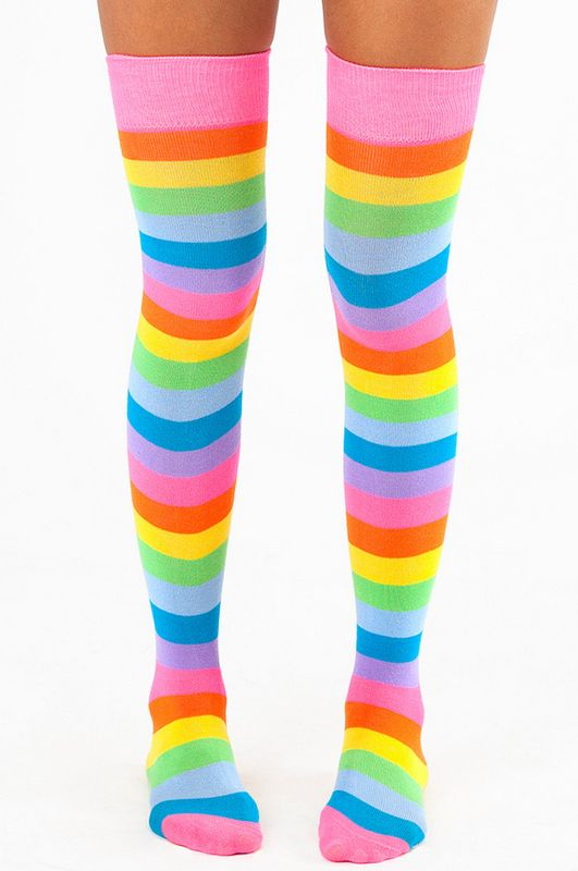 Really Rainbow Thigh High Socks