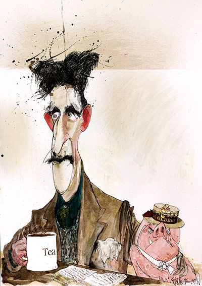 George Orwell and a pigRalph Steadman for a 1996 illustrated edition of Animal Farm.