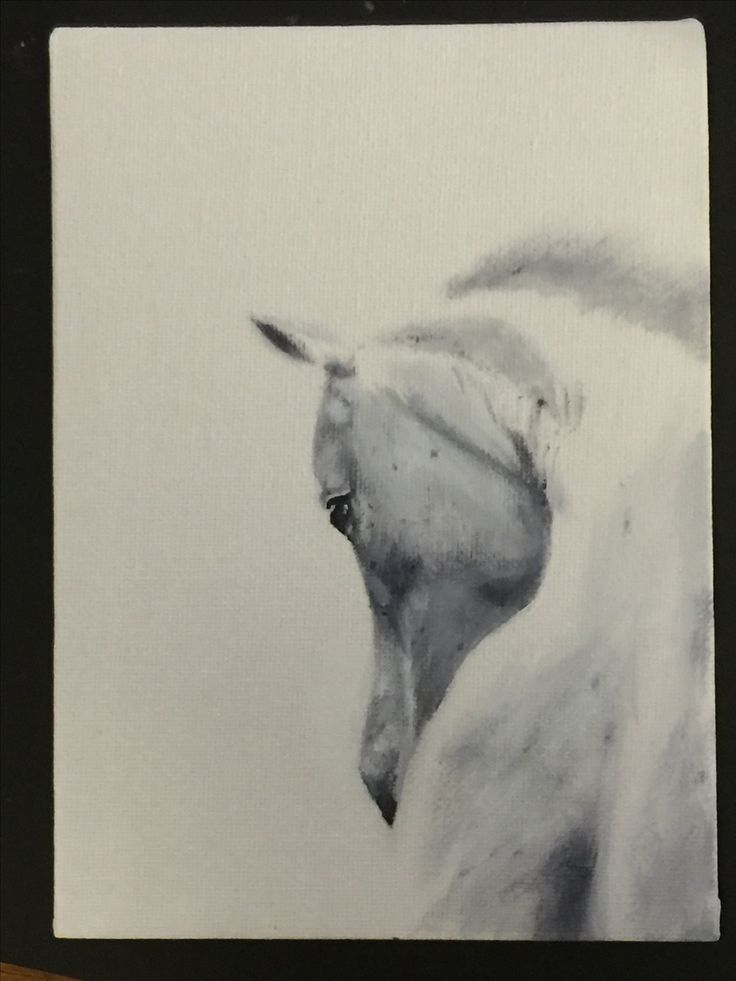 number four in the series of six... 5x7 canvas card on white gesso