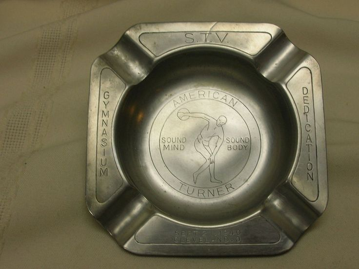 Vintage 1940 Clevland Ohio American Turners Stainless Steel Ashtray Gymnasium
