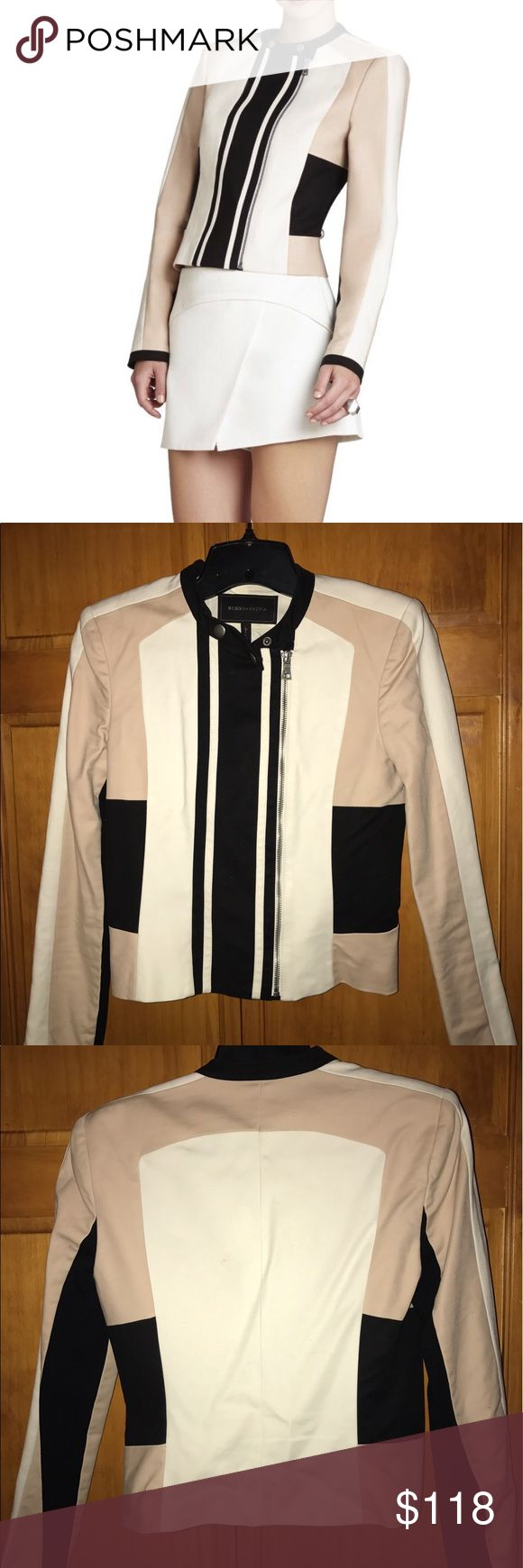 "BCBG Maxazria Moto ""Erin"" Jacket Give your office look a strong, sleek structure with this color-blocked moto jacket. Wear it like a blazer with a twist. For a super chic look wear it over a black knee-length fitted dress. BCBGMaxAzria Jackets & Coats"