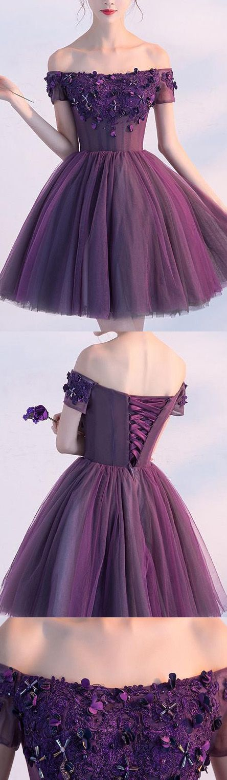 Short Homecoming Dresses, Lace Homecoming Dresses, Homecoming Dresses Short, Purple Homecoming Dresses, Off The Shoulder dresses, Off Shoulder dresses, Dresses On Sale, Purple Lace dresses, Lace Up Homecoming Dresses, Flower Homecoming Dresses, Off-the-Shoulder Homecoming Dresses