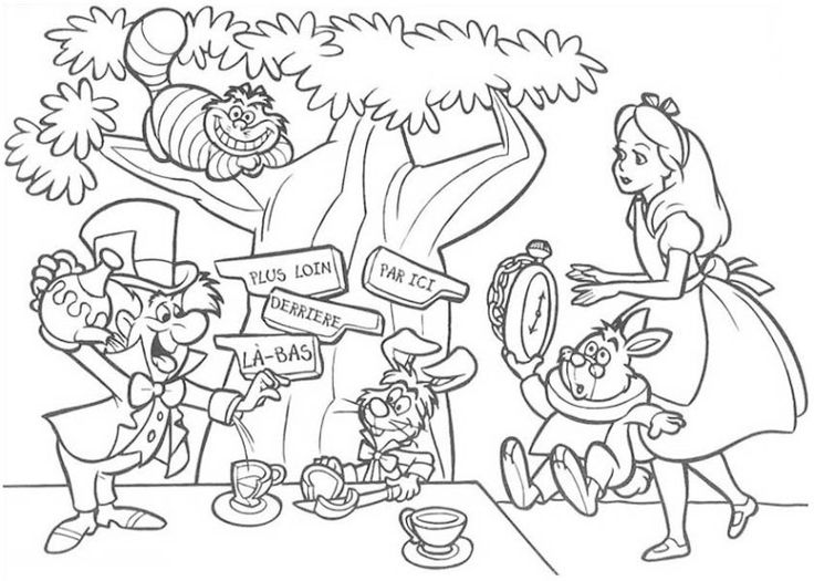 Mad hatter having tea party coloring page mad hatter for Alice in wonderland tea party coloring pages