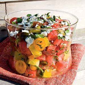 Watermelon, heirloom tomato, and feta salad - great for summer