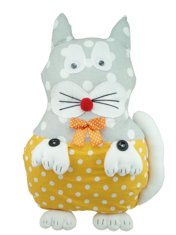 Kot , maskotka z kieszonką na drobiazgi, przytulanka Handmade #dorarte #handmade #rekodzielo #zabawki #kot