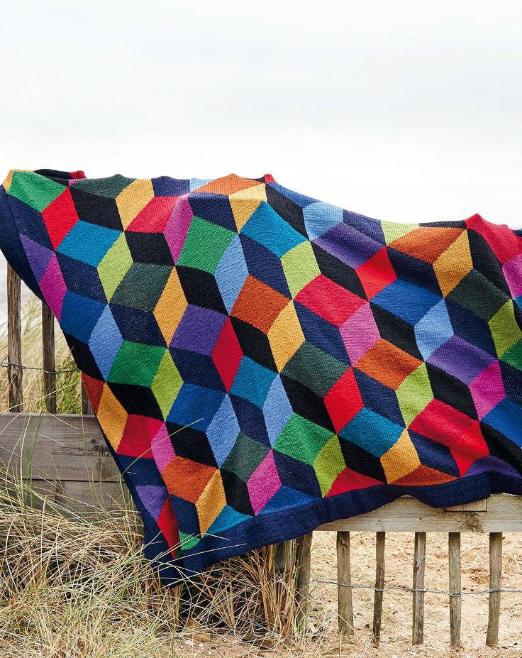 Wise Badger - Upscale Tumbling Blocks Throw in Rowan Pure Wool Superwash Worsted - Free Pattern