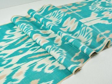 White and Teal Upholstery Fabric | teal & white ikat fabric traditional upholstery fabric