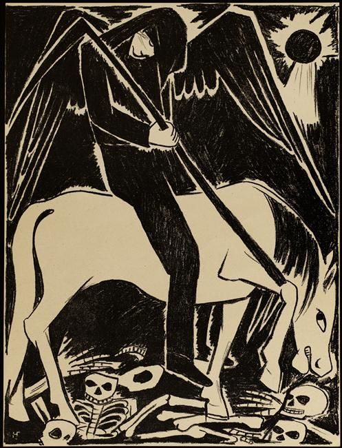Gontcharova Natalia S. (1881-1962) - Le cheval livide de la série : La guerre - lithographie  1914