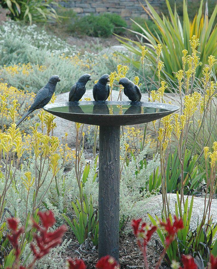 Contemporary Birdbath...in Bronze Look Cast Iron.