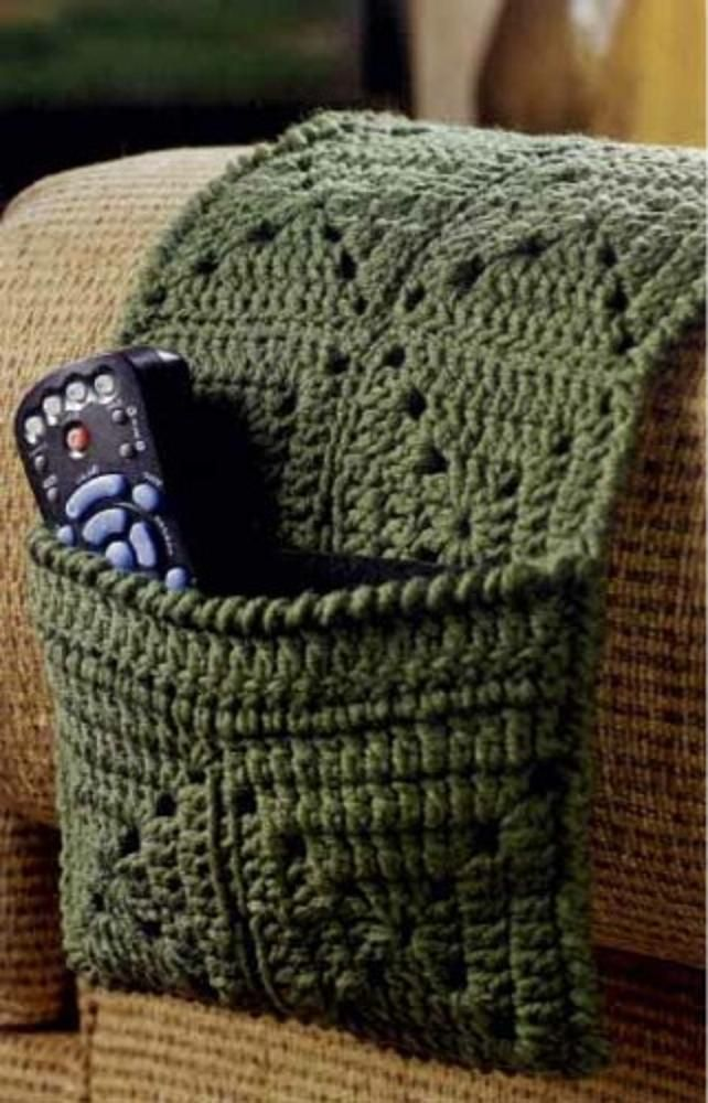 Crochet Arm Chair Caddy for Remote Controls