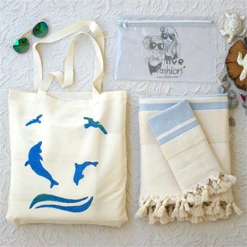 Mavi Natural Plaj Seti - Ebat: Plaj Çantası 37x45 cm  Vucut Havlusu 100x180 cm Baş Havlusu  50x90 Bikini Çantası  20x30 cm Renk: Plaj Çantası Keten Krem&Baskılı
