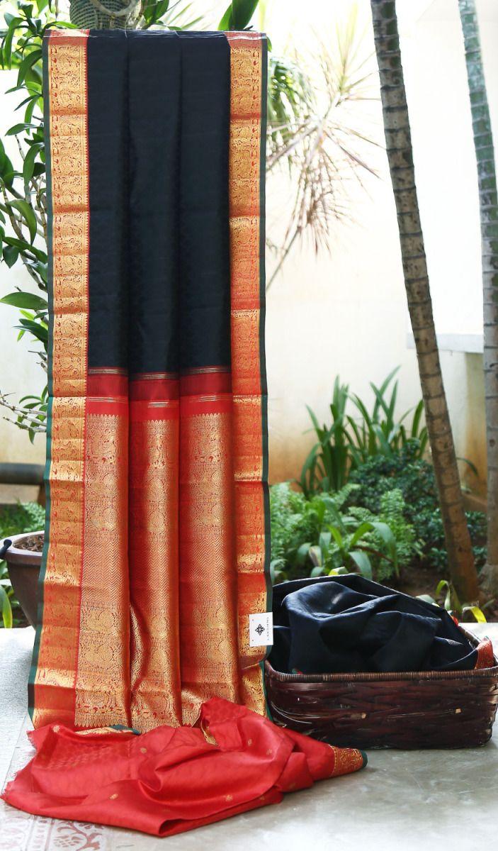 Black and Orange Kanjeevaram saree