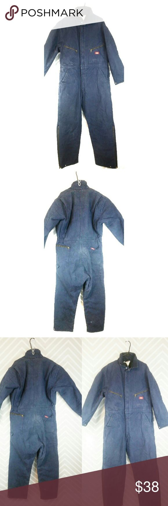 """Dickies Insulated Work Coveralls Unisex Regular Regular Work Coveralls Dickies Insulated Chest 46 48 Size blue.  Reasonable offers always welcome! No trades. Bundle &$ave!  Fully lined to keep you warm and safe. Thick, heavy quality. These have been worked in. Discolorations throughout 1 hole in back of right leg, all zippers & pockets are functional. As is, as pictured/described. Approximate flat measurements: 26.5""""chest 62.5""""shoulder to hem 30.5""""inseam 20""""sleeve inseam 181TM38BN1  Blue…"""