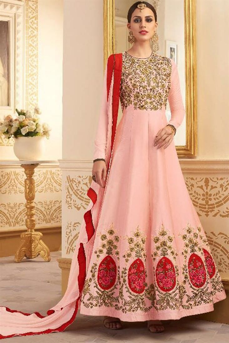 Online Shopping of Embroidered Art Silk Long Floor Length Anarkali Dress from SareesBazaar, leading online ethnic clothing store offering latest collection of sarees, salwar suits, lehengas & kurtis