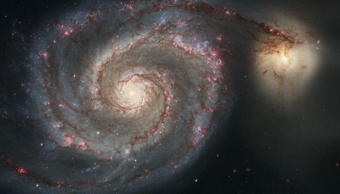 """space-wallpapers: """"Messier 51 - The Whirlpool Galaxy (desktop/laptop) Click the image to download the correct size for your desktop or laptop in high resolution """""""