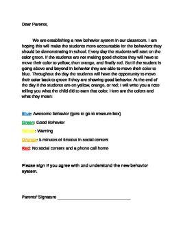 Classroom Behavior System Letter to Parents