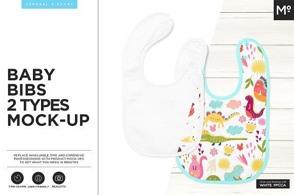 Baby Bibs 2 Types Mock-up by Mocca2Go/mesmeriseme on @creativemarket