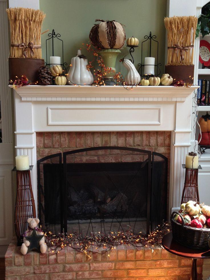 Fall Fireplace Mantel Decorating Ideas: Fall Mantel And Fireplace