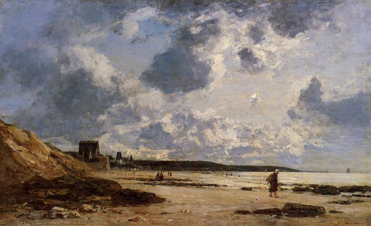 """""""Trouville, Shore and Rocks"""" by Eugene Boudin, Completion Date: c.1862."""