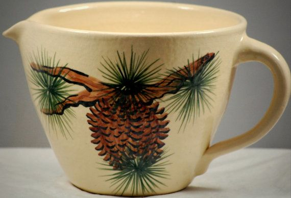 Pine Cone Pottery Batter Bowl Vintage Retro by QueenofFundy, $58.99