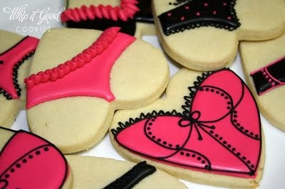 lingerie cookies - i love that these are made with heart cookie cutters - which most ppl have