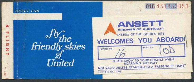United Airlines Passenger Ticket for Ansett Airlines of Australia Flight