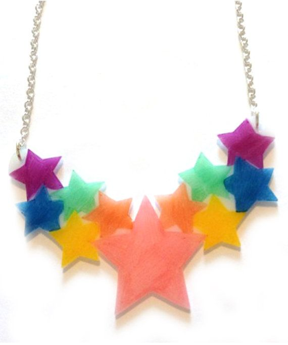 Star Cluster Necklace  Pastel Rainbow Stars  Pale by starsNscars, £19.50