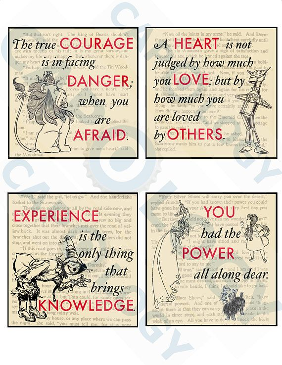 Wizard Of Oz Quotes Digital Download 4 X 4 Inch Squares Instant Download Coaster Making Supply Printable Image Scrapbooking Wizard Of Oz Quotes Wizard Of Oz Decor Wizard Of Oz