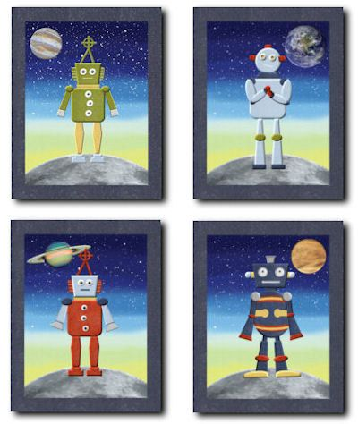 Artwork  http://www.etsy.com/listing/94598889/robots-in-outer-space-nursery-bedding