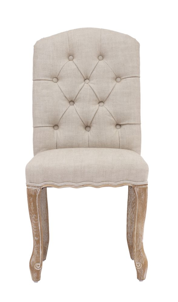 Inspired by a French design, the Noe Valley chair is elegant yet comfortable. A tufted back, curved silhouette and tapered legs lend timeless appeal. Come in either a beige or charcoal linen fabric.