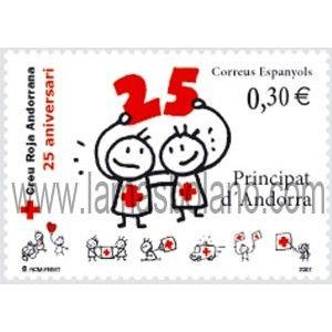 SELLOS DE ANDORRA ESPAÑOLA 2007 - CRUZ ROJA ANDORRANA 25º ANIVERSARIO - 1 VALOR CORREO