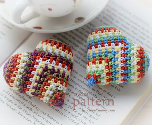 ao with <3 / could be a square crocheted in straight lines, folded corner onto corner plus add the two arches ... crocheted hearts