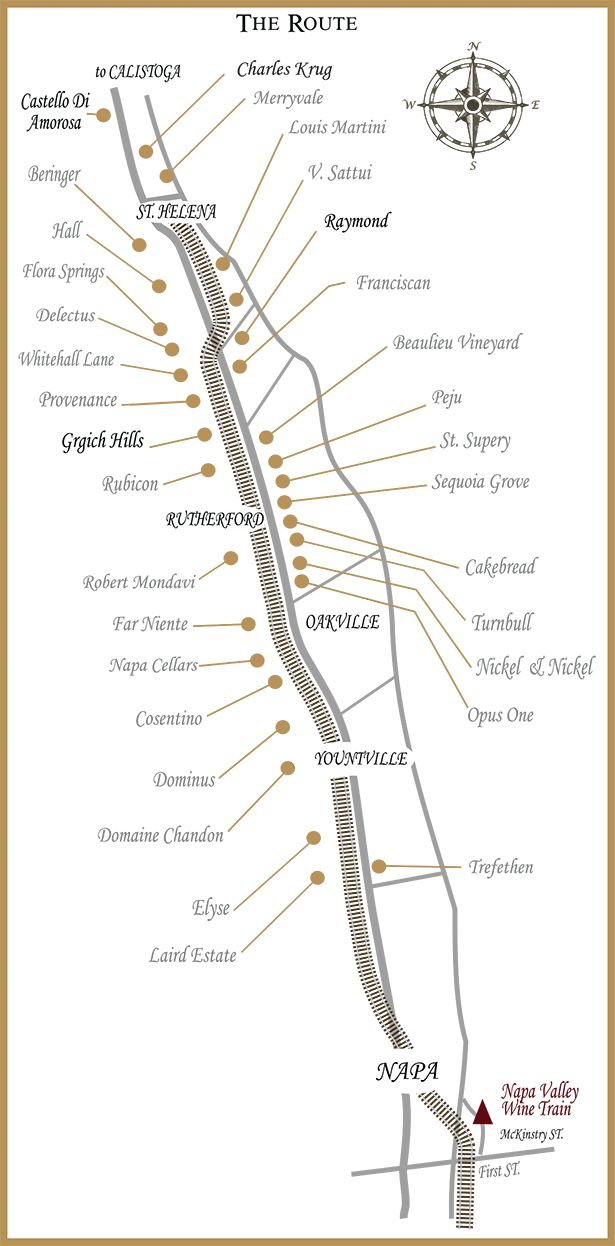 Napa Valley Wine Train Route Map