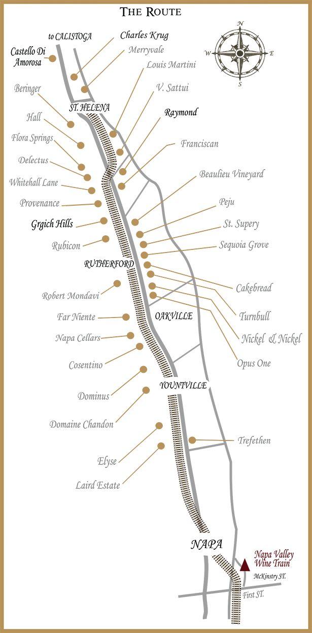 Napa Valley Wine Train Route Map