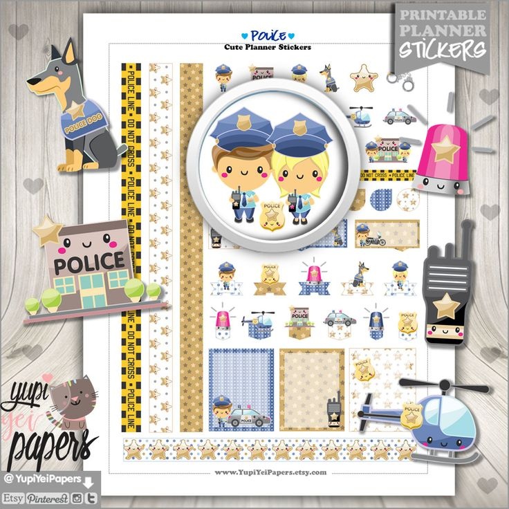 Police Stickers, Planner Stickers, Kawaii Stickers, Planner Accessories, Police Officer, Policeman, Police Station, Printable Stickers
