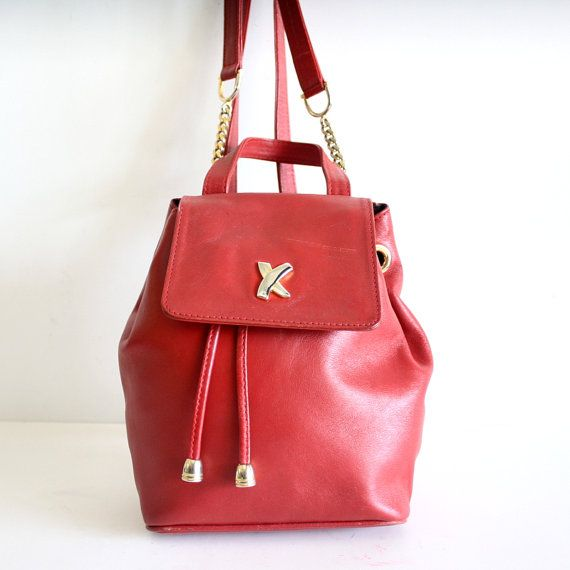 Authentic PALOMA PICASSO backpack RED made in by pascalvintage, $128.00