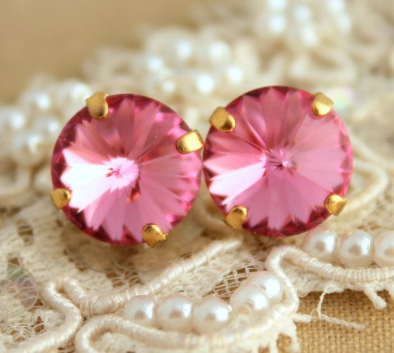 Pink stud earrings  14k gold plated earrings with real by iloniti