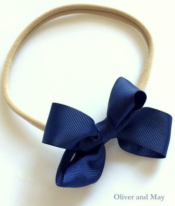 Boutique Navy Ribbon Bow Skinny Nylon Elastic by OliverAndMay