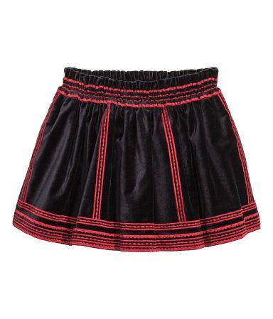 Fluwelen rok met borduursel | Zwart | Kinderen | H&M NL
