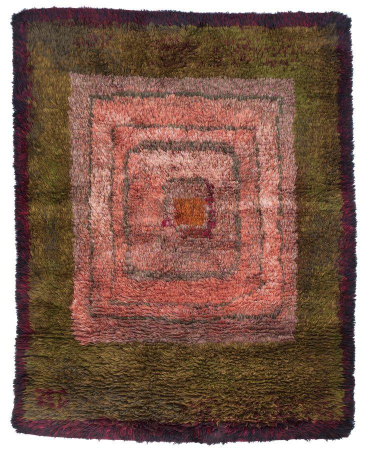 Uhra-Beata Simberg-Ehrström; Wool 'Rosa' Rya Rug, c1960.