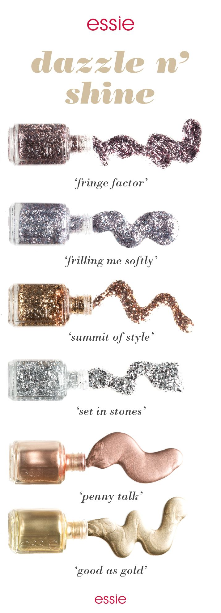 So many metallic shades, so many ways to liven up your winter mani. Get in on this perfection with nail polishes that are glitzy, glam and gorgeous like gunmetal and pink 'fringe factor', platinum and